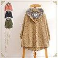 Nueva 2016's Mori La muchacha Japonesa impresión cervatillo Pequeño suelto abrigo cazadora con capucha