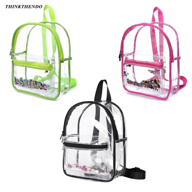 THINKTHENDO Fashion Heavy Duty Clear Transparent PVC Backpack For For Work School Security Travel And Sports