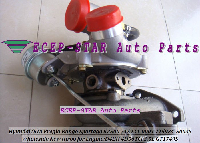 ECEP-STAR Auto Parts GT1749S 715924-0001 28200-42610 Turbo For KIA Pregio Bongo Sportage K2500 For HYUNDAI 1 Ton Truck H-100 Bus D4BH 4D56TCi 2.5L