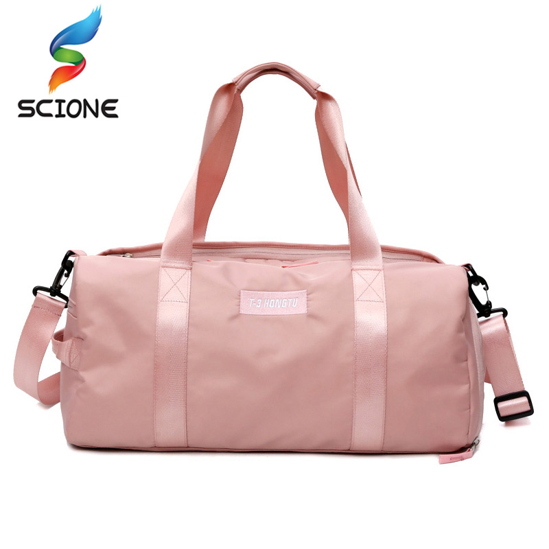 все цены на Stylish Outdoor Waterproof Nylon Sports Gym Bags Men Women Girls Training Fitness Travel Handbag Yoga Mat Bag Sac Sport онлайн