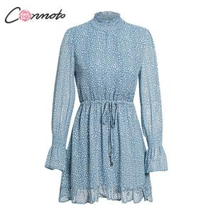 Image 5 - Conmoto Leopard Print Party Dress Women 2019 Elegant Winter Ruffle Long Sleeve Dress Vinatge Turtleneck Blue Mini Dress Vestidos
