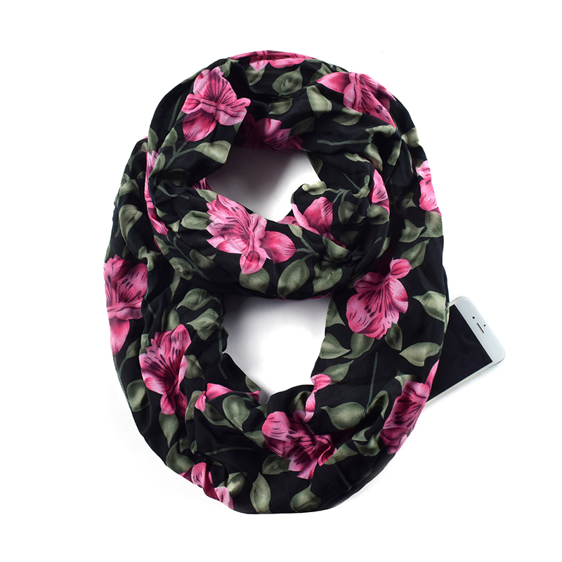 Women Flower Print Infinity Scarfs With Zipper Pocket, Travel Loop Scarf Wrap AA10305