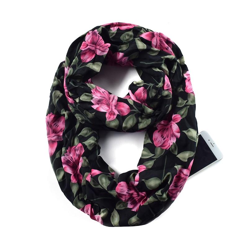 Women Flower Print Infinity Scarfs with Zipper Pocket, Travel Loop   Scarf     Wrap   AA10305