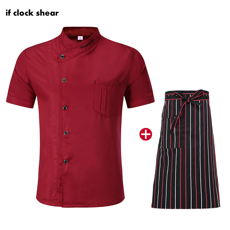 M-4XL Short Sleeve Chef Uniforms Unisex Restaurant Hotel Kitchen Workwear Chef Jackets Red Cooking Shirt Apron Logo Embroidery