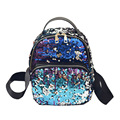 Fashion Small Glitter Backpack Women Silver Sequin Daypack 2017 Cool Teenage Girls Black Leather Backpacks mochila mujer XA129H