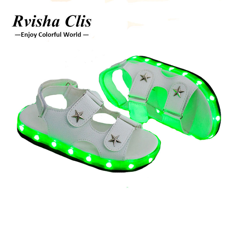 2018 New Brand USB Charging glowing kids sandals shoes boys girls flat baby led luminous lighting sneakers sandals baby shoes