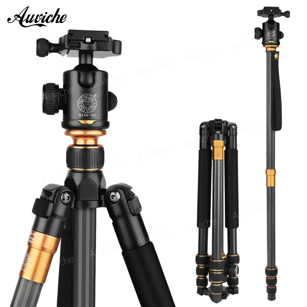 QZSD Q999C Collapsible Portable Carbon Fiber Tripod &Monopod with Ball head For Digital camera qzsd q668 portable camera tripod with ball head