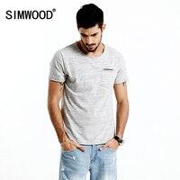 SIMWOOD 2017 Summer New T Shirt Men O Neck Curl Hem Pocket Slim Fit Casual Tops