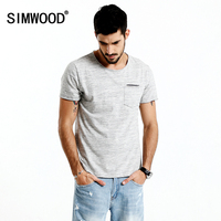 SIMWOOD 2017 Summer New T Shirt Men O Neck Curl Hem Pocket Slim Fit Casual Tops