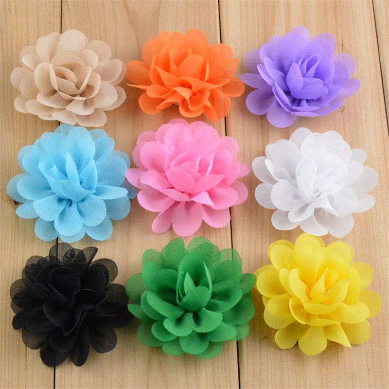 20pcs/lot 20 Color U Pick 2'' Mini Chiffon Blossom Fabric Flowers Hair Accessories DIY Crafting Supplies TH50 30pcs lot 28 color u pick handmade 3 chiffon rolled rosette boutique hair flowers diy girls hair accessories fh28