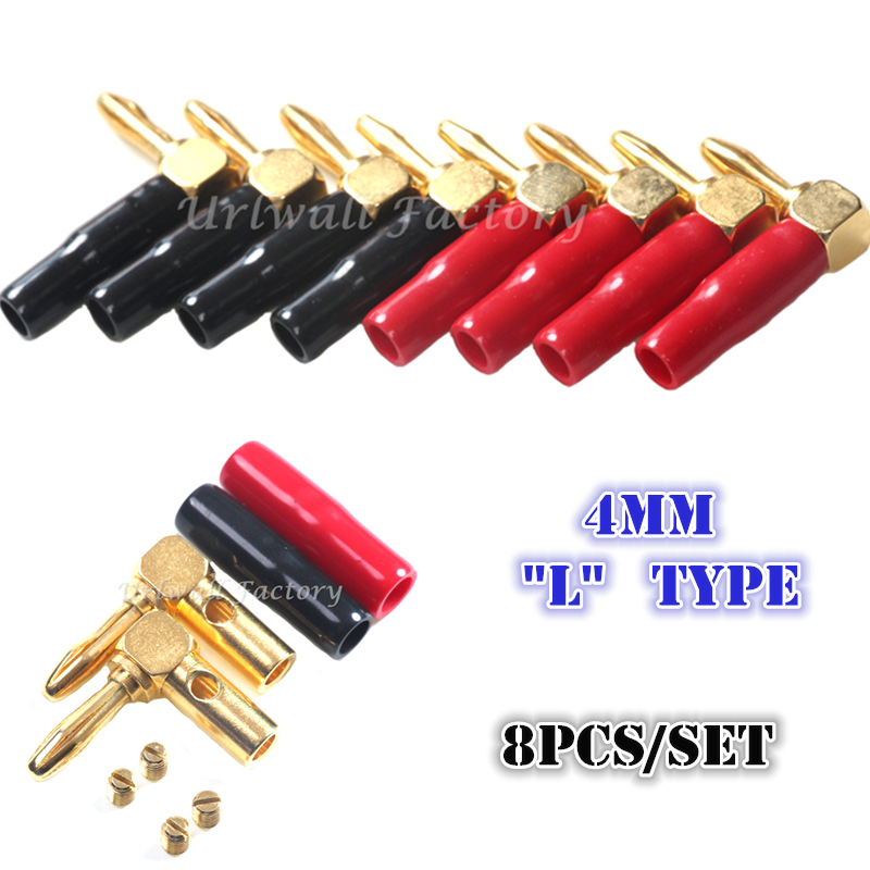 8pcs Right Angle Gold 4mm Banana Plugs Set Audio Speaker Cable Connecto