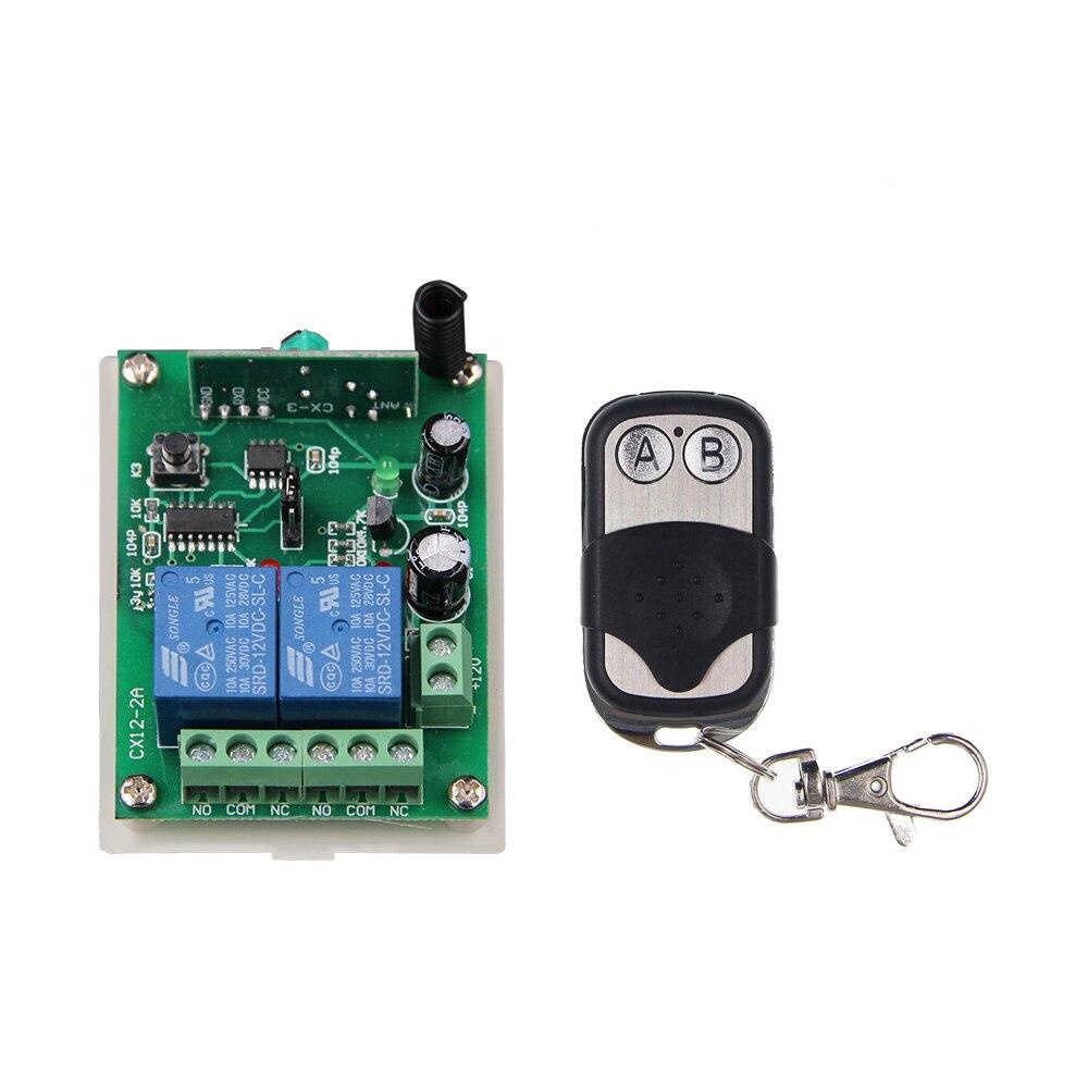 DC 12V 24V 2 CH 2CH RF Wireless Remote Control Switch System,315/433.92 MHZ (1 Metal Frame Transmitter +1 Receiver) dc 12v 2ch 2 channel wireless rf remote control switch 3 transmitter and 1 receiver for wireless system 3312