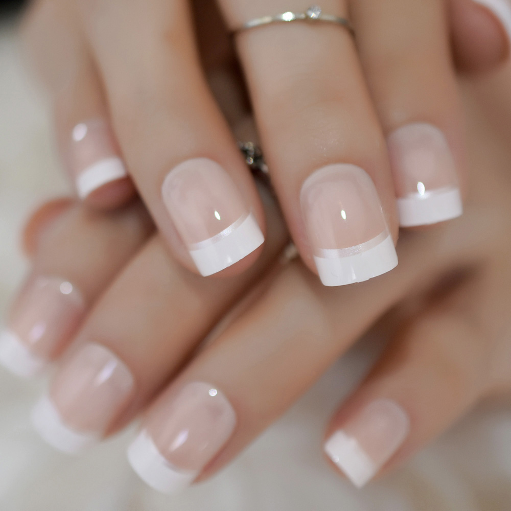 Natural Nude White French Coffin False Fake Nails Press On Flat