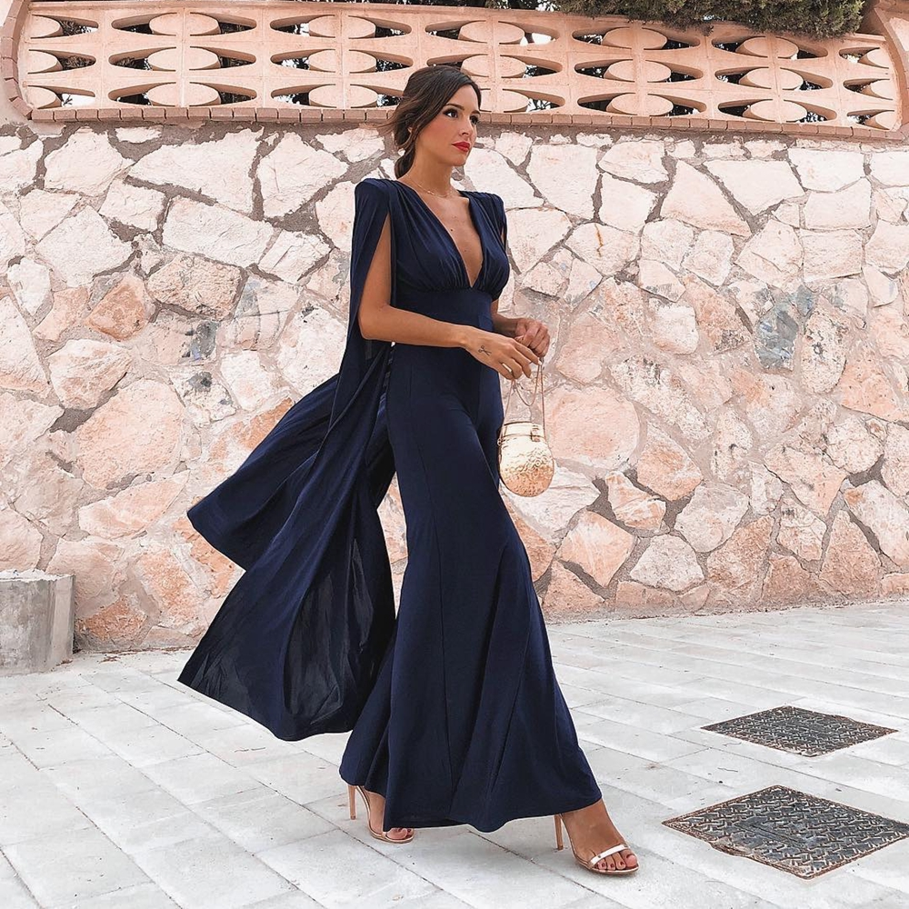 ... Dark Blue Long Sleeve Polyester Backless Deep V Neck 2018 New Arrival Women  Jumpsuit Sexy Evening Celebrity Jumpsuits on Aliexpress.com  3eb0108a8d5a