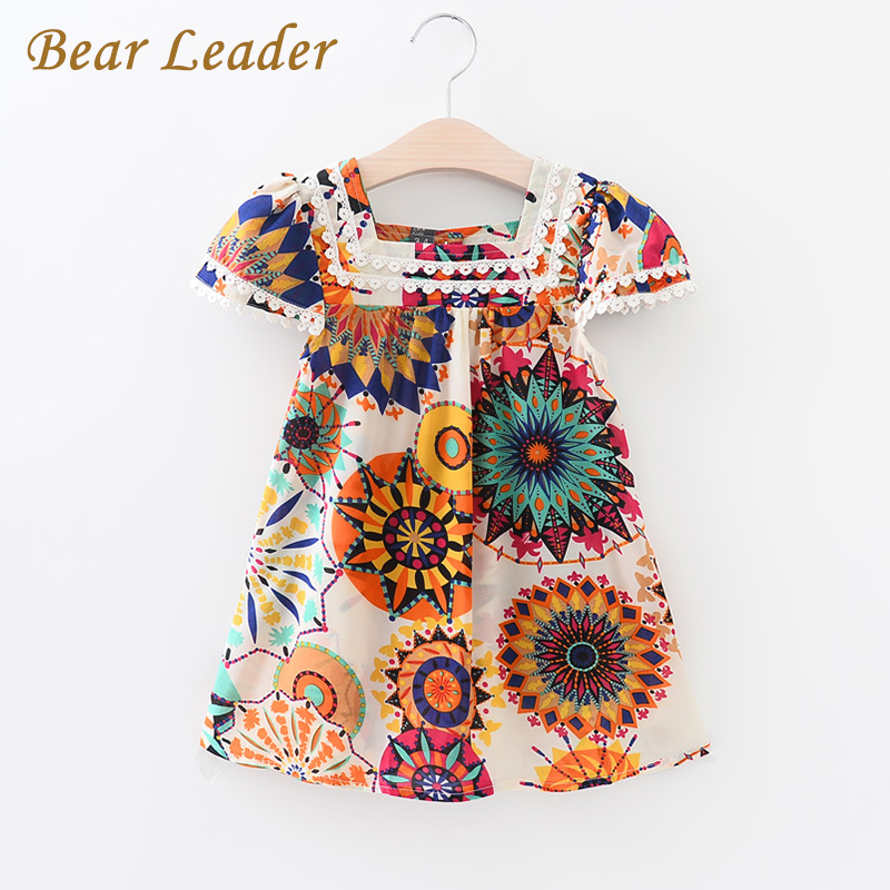 Bear Leader Girls Dress 2017 New Summer Style Girls Clothes Sleeveless Sunflowe Print Design China Dresses Children Clothes 3-7Y bear leader girls dress 2016 new summer style party dress stella the swallow embroidered sleeveless dress girls princess dress