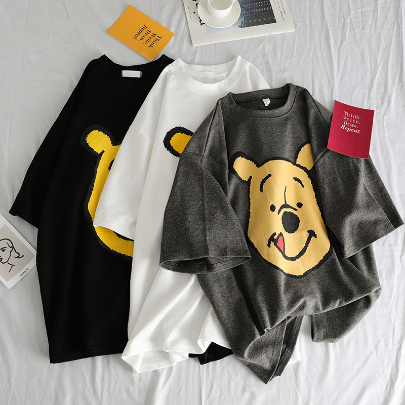 Summer 2019 Casual Women T-shirts Ulzzang Streetwear Kawaii Cartoon Print Tshirt Korean Style Tops Harajuku Short Sleeve T Shirt