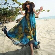 ROPALIA Лето Для женщин Макси Вечерние Платье Boho павлиний хвост узор солнце-доказательство пляжные шифоновые платья стильные женские длинные Vestido