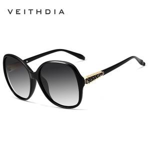 Image 2 - VEITHDIA Retro Sun glasses Polarized Luxury Ladies Brand Designer Women Sunglasses Eyewear oculos de sol feminino V3025