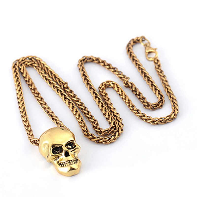 Collar de calavera de Joyería de Halloween, colgante de motorista gótico de acero inoxidable y cadena para hombre/mujer, regalo punk dorado/Negro/plateado