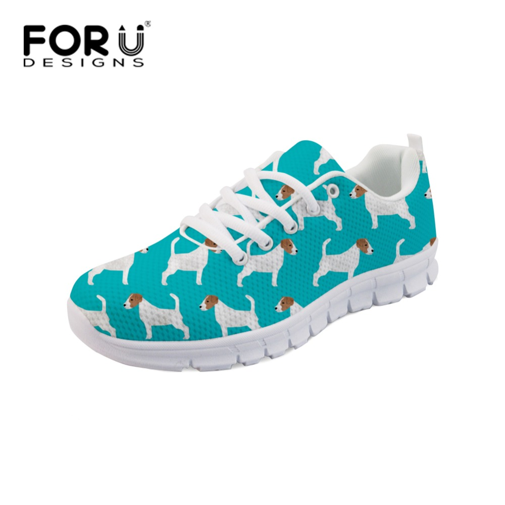 Forudesigns Blue Print Sneakers for Women Casual Female Ladies Mesh Shoes Breathable Women Lace Up Flats