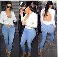 Brand Style Sexy Deep V neck White T-shirt 2015 New Fashion Backless Slim Bandage Top Shirt t shirt Plus Size Women Clothing