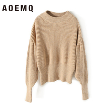 AOEMQ Winter Sweater Long Sleeve Striped Light Khaki Solid Sweater O-Neck Plus Size Women Tops Casual Sweater for Women Clothing khaki splited design round neck irregular sweater