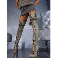 Сексуальная взлетно посадочной полосы Для женщин фетиш туфли осень вырезами открытый носок шпилька над коленом Ботинки с перекрестной шну