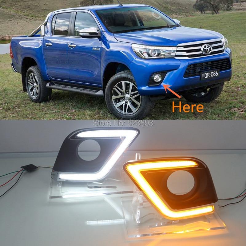 Daytime Running Light,Car LED DRL Daytime Running Light Super Bright Fit for Toyota Hilux Revo Vigo 2015-2016