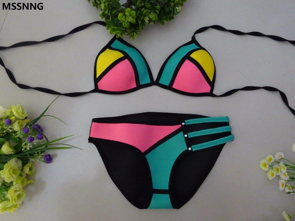 MSSNNG2017 Verano Bikini Material de Neopreno Bikini Set Sexy de Las Mujeres Emp