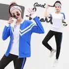4pcs Women Sport Suit Tracksuit Yoga Set Zipper Jacket+T Shirt+Bra+Pants Gym Suit Workout Clothes Fitness Sportwear For Women - 3