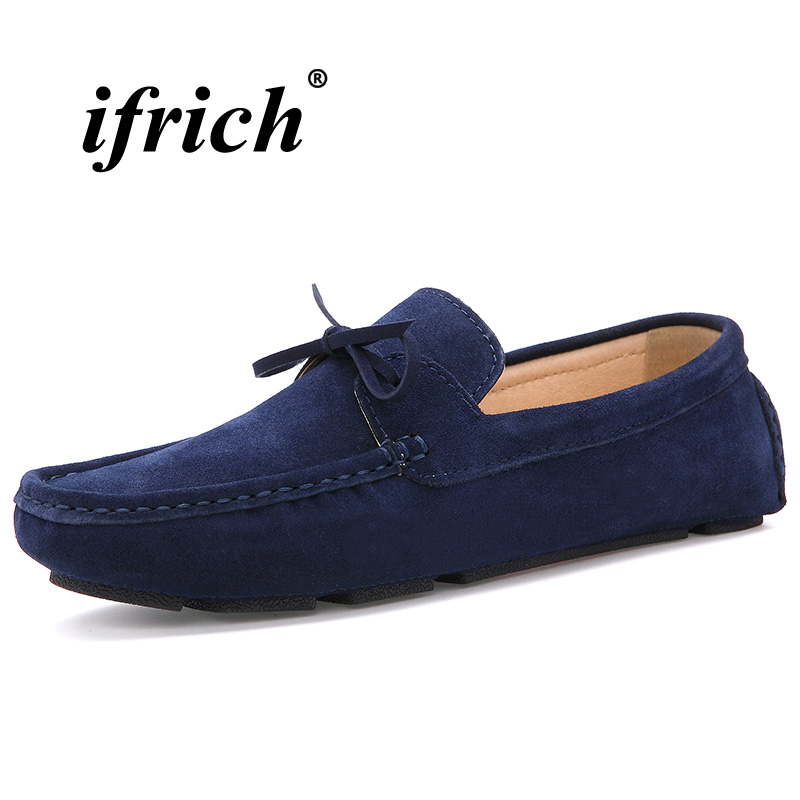 2018 Men Walking Driver Shoes Blue Red Young Boy Casual Loafers Weight Light Male Lazy Shoes Non Slip Men Suede Leather Shoes