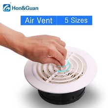 Hon&Guan Round Air Vent ABS Louver White Grille Cover Adjustable Exhaust Fit for Bathroom Office Kitchen Ventilation