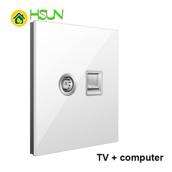 86 Type White Tempered glass Switch 1 2 3 4 gang 1 2 way Lizard Point Switch Comuter TV Telephone Socket Household Wall Switch 6
