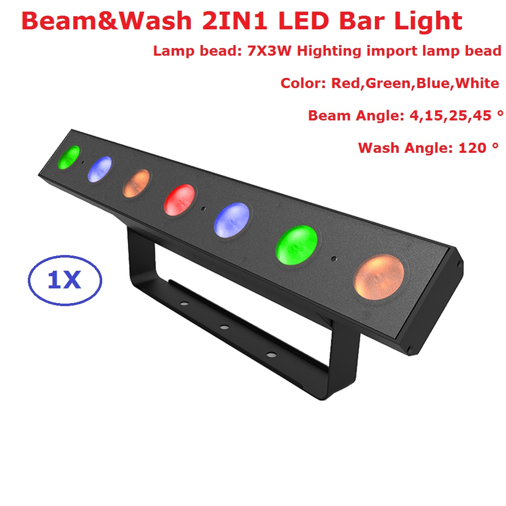 1Pcs/Lot Beam Wash 2IN1 DMX Bar Lights RGBW 7X3W Perfect For Mobile DJ Party Nightclubs 110-240V 120 Degree Angle