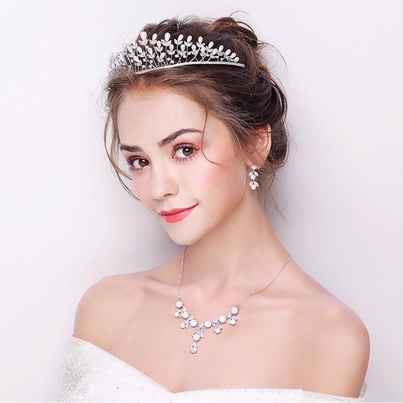 Ensembles de bijoux de cheveux de mariée en argent de haute qualité ensembles de boucles d'oreilles collier couronne pour femmes AAA zircon cubique et perle pierre