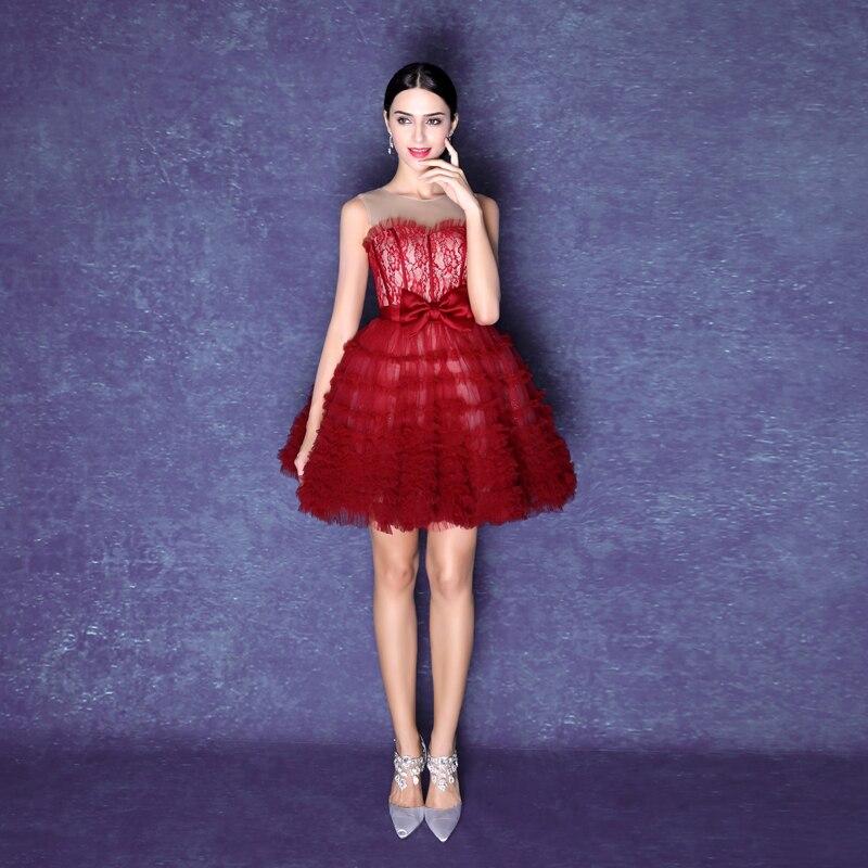 2490Q vino rojo de las mujeres de Moda sexy vestido de bola Vestidos ...