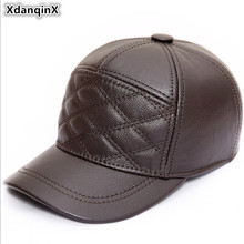 XdanqinX Adjustable Size Mens Genuine Leather Hat Autumn Winter New Warm Cowhide Baseball Caps With Ears Snapback Cap For Men