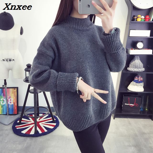 Winter turtleneck sweater women pullover Warm female Pure color wild basic Autumn Knit Xnxee