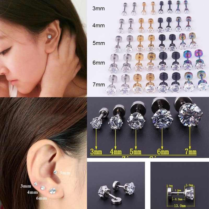 Sellsets Steel Barbell Zircon Cartilage Helix Tragus Lip Earring Piercing 3/4/5/6/7mm Titanium Anodized  Fake Ear Plugs Jewelry