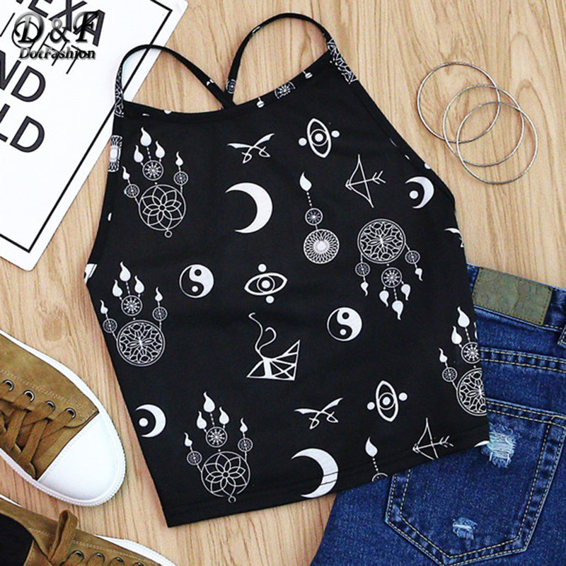 Dotfashion Tribal Symbol Print Sexy Cross Back Cami Tops Women Black Slim Boho Summer Tops Sexy Stretchable Cute Camisole