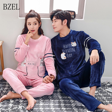 BZEL Couple Flannel Pajamas Sets Winter Couple Sleepwear Cute Cartoon Bear Pyjama Sets Flano Homewear Lovers Clothes Pijamas