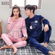 BZEL 커플 플란넬 잠옷 세트 겨울 커플 잠옷 귀여운 만화 곰 잠옷 세트 Flano Homewear 연인 의류 Pijamas