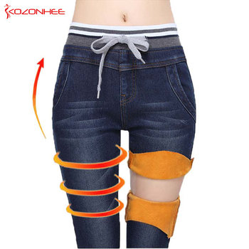 Elastyczność kaszmirowe ciepłe dżinsy dla kobiet duże czarne dżinsy z wysokim stanem jeansy z elastyczną talią kobiece zimowe jeansy dla kobiet tanie i dobre opinie kozonhee Kostki długości spodnie Elastan COTTON Na co dzień KOZONHEE-666 Stripe Ołówek spodnie skinny light Kobiety
