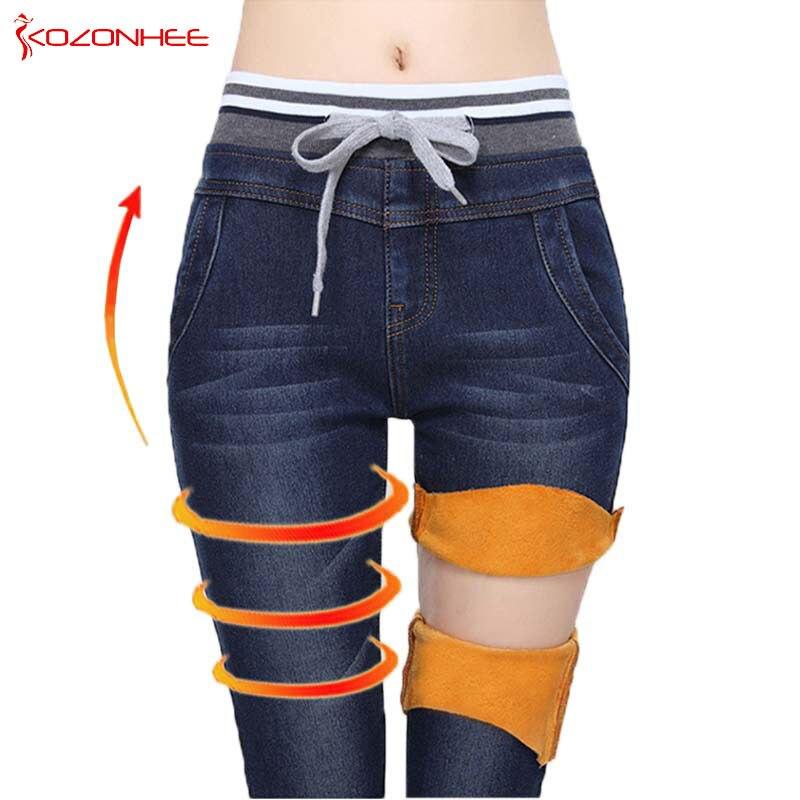 Vaqueros elásticos de la cachemira de la elasticidad para las mujeres, pantalones vaqueros negros grandes con los pantalones vaqueros de la cintura elástico de la cintura alta, vaqueros del invierno para las mujeres