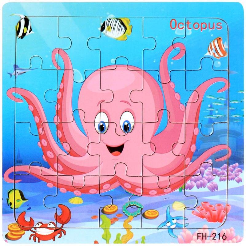 Деревянные пазлы игрушки 20 шт. дети радость Превосходное качество головоломки деревянные Мультяшные животные Развивающие головоломки игрушки для детей - Цвет: 15