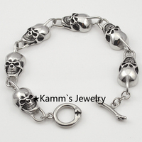 High Quality Skull Link Bracelets Hand Chain Casting Fashion Stainless Steel Mens Jewellery retail&wholesale Free Shipping KB437