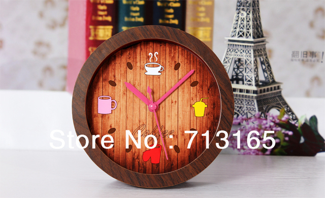 free shipping Leisure time coffee shop  small alarm clock  wood grain clock