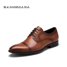BASSIRIANA 2017 Men shoes fashion Leather Shoes Men's Flats Lace-up Men Shoes Genuine Leather High Quality