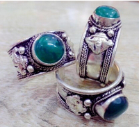 Hot sell Noble FREE SHIPPING>>>@@ 0x Retro Style Fashion Tibet Silver Green Jade Bead Lace Ring Adjustable Gift can choose 3pc