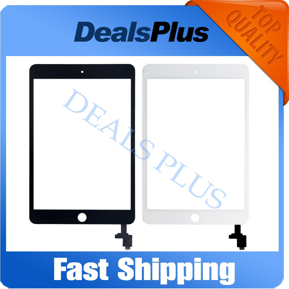 Replacement New Touch Screen with IC Flex Cable Digitizer Glass without Home Button For iPad Mini 3 Black White Free Shipping гибкий кабель для мобильных телефонов for ipad 5 ipad 5 flex dhl ems home key button flex cable
